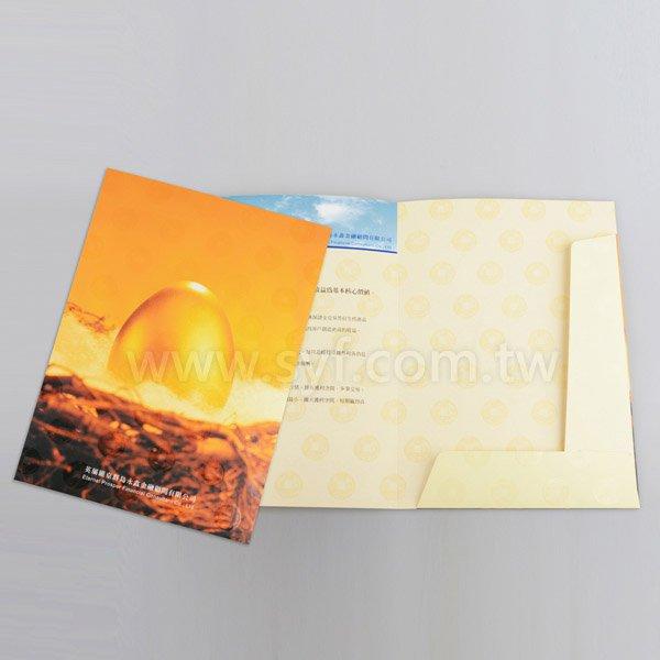 單面彩印文件夾可插名片-250g銅西-A4資料夾單面霧(亮)膜