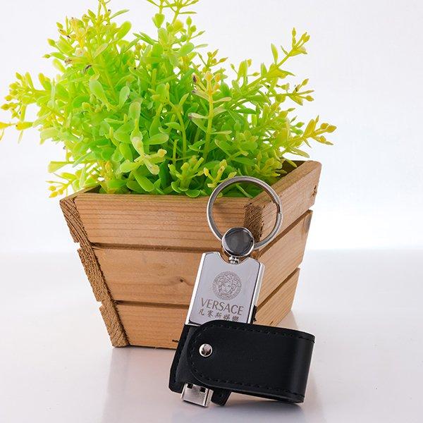 皮製隨身碟-鑰匙圈禮贈品USB-金屬皮環革材質隨身碟-採購訂製印刷推薦禮品