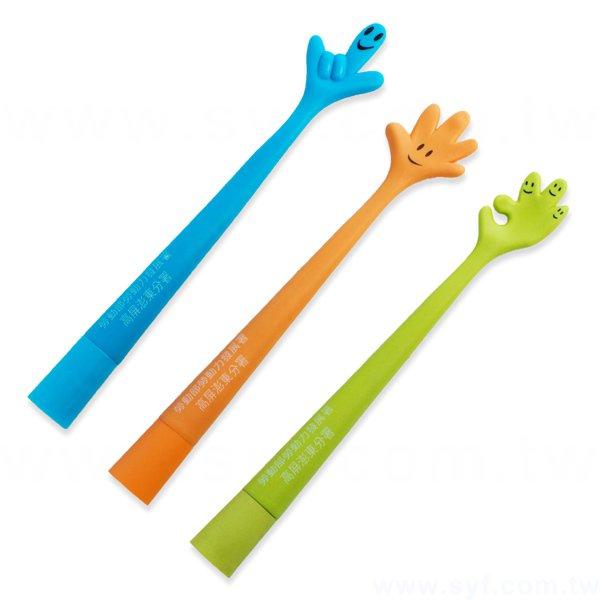 造型廣告筆-手指彎曲筆管環保禮品-單色原子筆-三款筆桿可選-採購批發製作贈品筆
